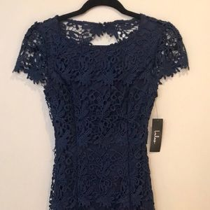 LULU'S hidden talent backless navy blue lace dress